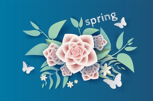 Illustration flower and leaf decoration spring