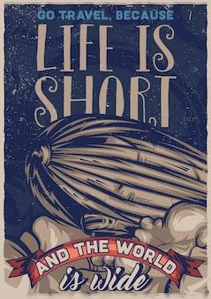 Illustrazione del dirigibile volante. illustrazione di stile vintage. Vettore gratuito