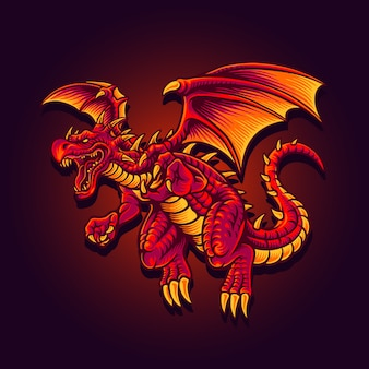 Illustration of flying red dragon character