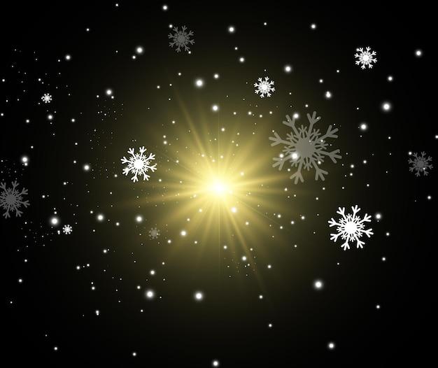 Illustration of flying snow  natural phenomenon of snowfall or blizzard
