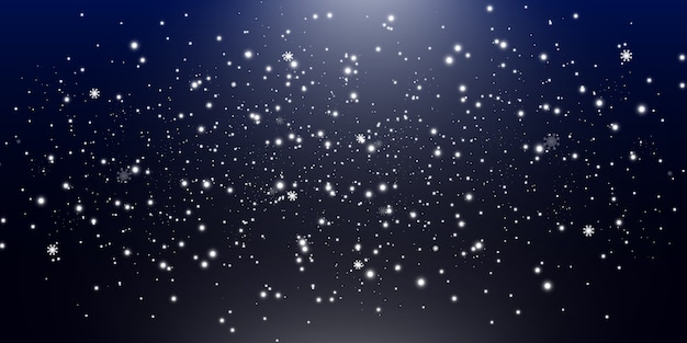 Illustration of flying snow on a transparent background.natural phenomenon of snowfall or blizzard.