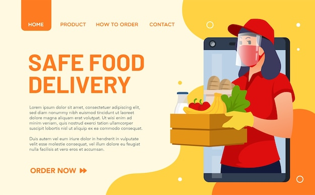 Illustration of a food delivery girl adhering to health protocols and always wearing a mask. landing page concept