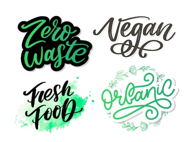 Illustration, food . hand lettering for restaurant, cafe menu, farm and shop. elements for labels, logos, badges, stickers or icons. calligraphic and typographic collection. fresh food