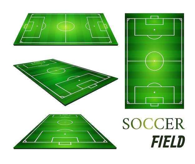 Illustration of football field, soccer field. Premium Vector