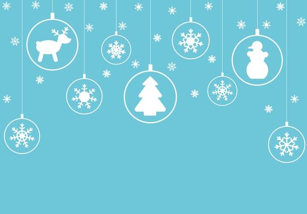 크리스마스 또는 새해 카드, 포스터, 포스터 또는 전단지에 대한 그림. 눈송이와 공 인사말 카드