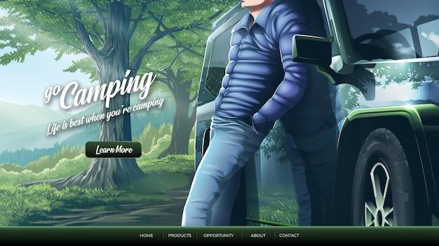 Иллюстрация к целевой странице путешественника со своим полноприводным автомобилем в горах