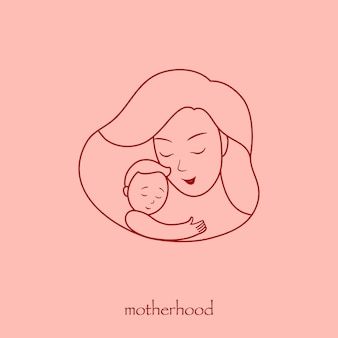 Иллюстрация к логотипу, мама с младенцем на руках. рамка в форме сердца