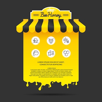 양봉의 꿀 제품 광고에 대한 그림