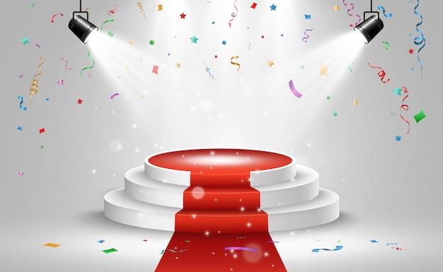 受賞者のイラスト。受賞者を表彰するための台座またはプラットフォーム。