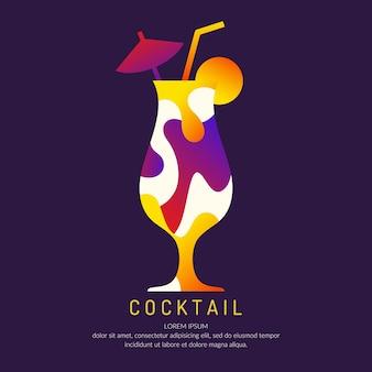 バーメニューのアルコールカクテルのイラスト。飲み物の描画