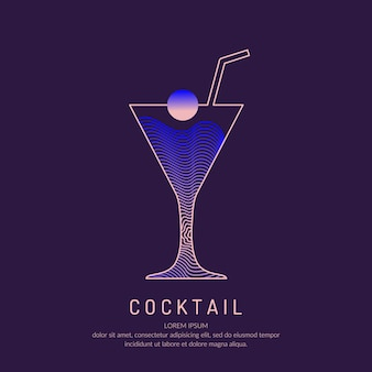 バーメニューのアルコールカクテルのイラスト。飲み物の線画