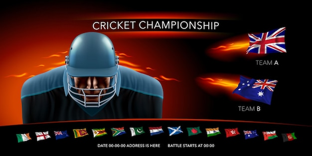 クリケットトーナメントのイラスト。ゲーム発表バナーデザインにおけるクリケット選手と国の旗