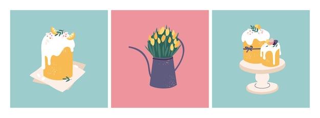 부활절 휴가위한 그림입니다. 물을 수와 부활절 케이크에 아름 다운 꽃 꽃다발.