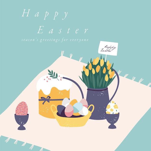 부활절 휴가위한 그림입니다. 부활절 케이크와 페인트 계란 아름 다운 꽃 꽃다발.