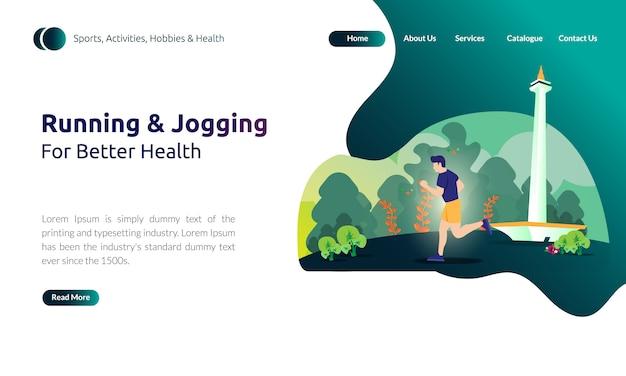 Иллюстрация для шаблона целевой страницы - человек бег или бег для улучшения здоровья