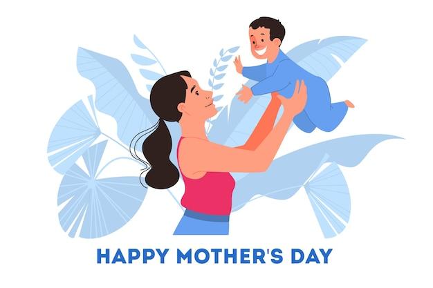 어머니의 날에 대 한 그림입니다. 행복한 엄마는 아기를 안고 모성을 즐기십시오.