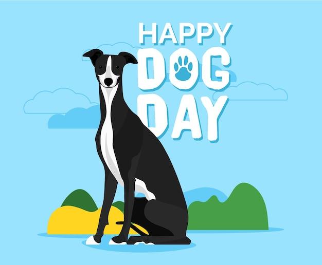 National dogdayフラットスタイルのイラスト