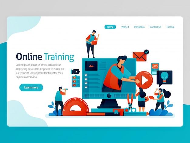 オンライントレーニングのランディングページの図。 webおよび学習アプリ。現代の教育、遠隔教育、学習。インタラクティブなコースと個別指導