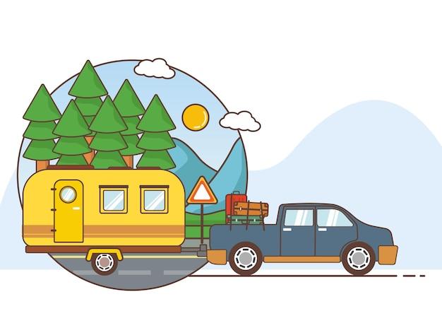자동차와 함께 여행 휴가에 대 한 그림