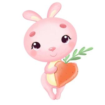 バレンタインデーのイラストにんじんの心を持つかわいいピンクのウサギ