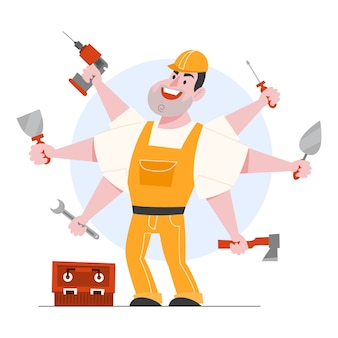 Illustration of foreman character. professional worker in helmet and uniform holding tools. handyman and specialist.   cartoon illustration