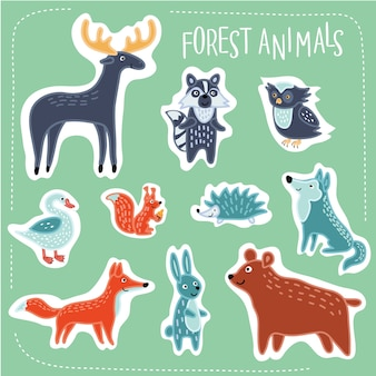 Illustration of forest funny cartoon animals set