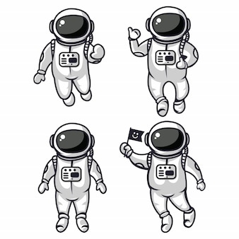 Illustration of four cute astronauts