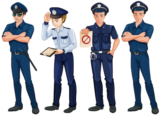 Illustration of the four policemen on a white background