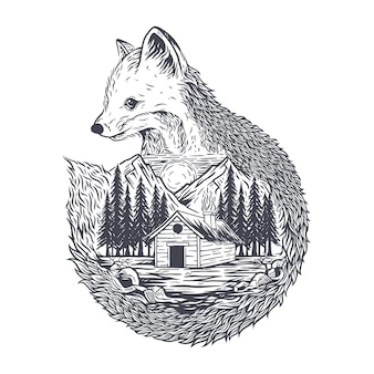 Illustration fox and forest premium vector
