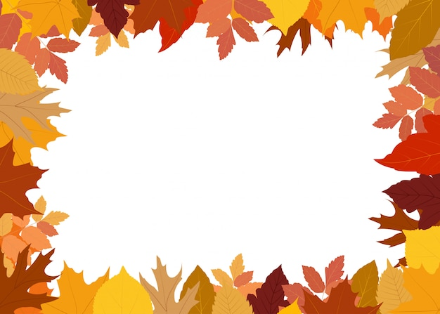 Illustration of frame made of colorful autumn leaves