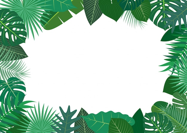 Illustration of frame made of green tropical leaves