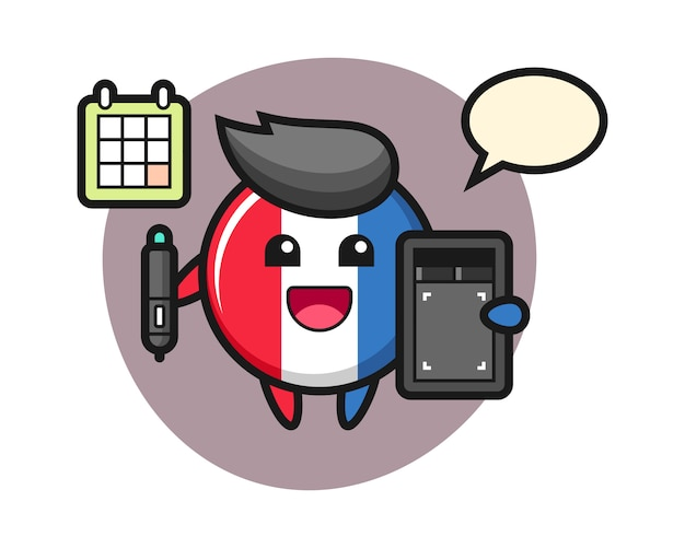 Illustration of france flag badge mascot as a graphic designer