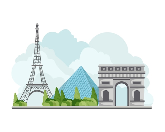 Illustration france travel landmarks
