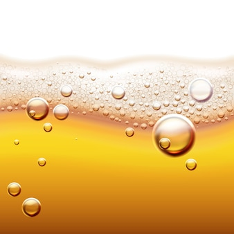 Illustration of fresh light beer with gas bubbles amber liquid background with wave and foam