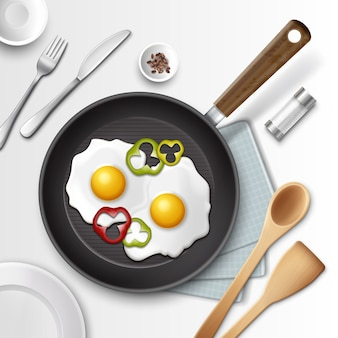 Illustration of fried eggs in a frying pan with bell pepper for breakfast and other utensil