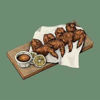 Illustration of fried shrimps with lemon