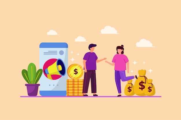 Illustration of friend referrals and business strategies with flat design concept