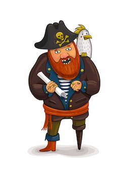 An illustration of a friendly cartoon pirate holding a treasure map