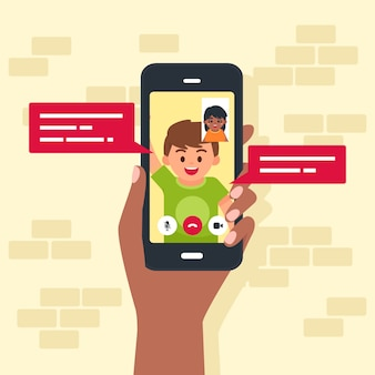 Illustration of friends video calling on mobile phone
