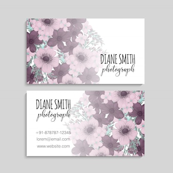 Illustration of front and back of business card with flowers