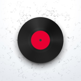 Illustration of front view vinyl record with realistic shadow on background with music signs
