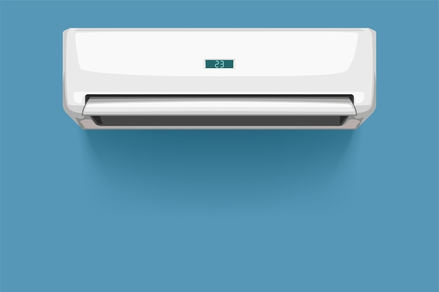 Illustration of front view white color air conditioner with realistic shadow on white