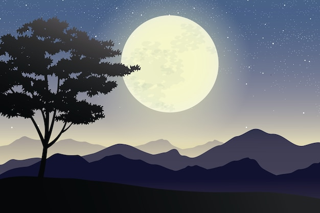 Illustration of full moon on mountains and hills landscape