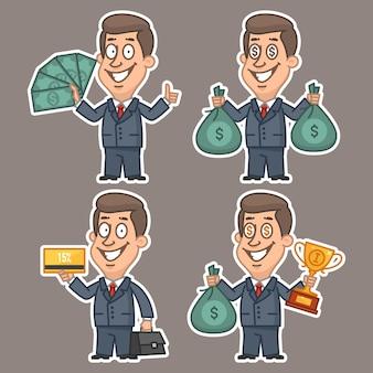 Illustration, fun businessman stickers concept set 4, format eps 10