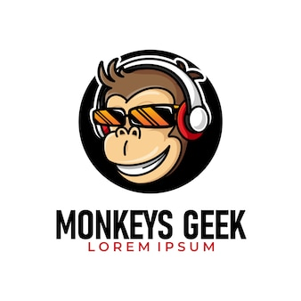 Illustration of funky monkey geek wearing glasses and headphone