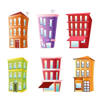 Illustration of funny buildings set. colorful and bright houses in cartoon flat comic style on white