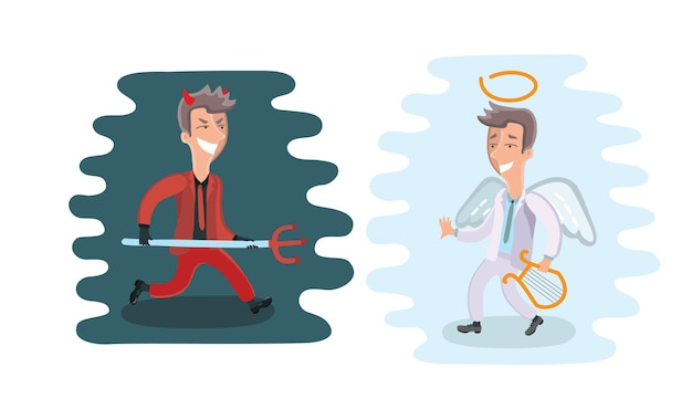 Illustration funny cartoon angel and devil dressed in suit