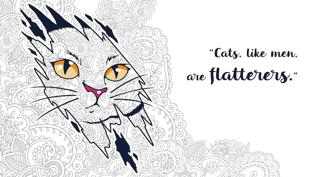 Illustration of funny cartoon cat doodle with quotes in zentangle stylized