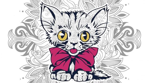 Illustration of funny cartoon cat in zentangle stylized