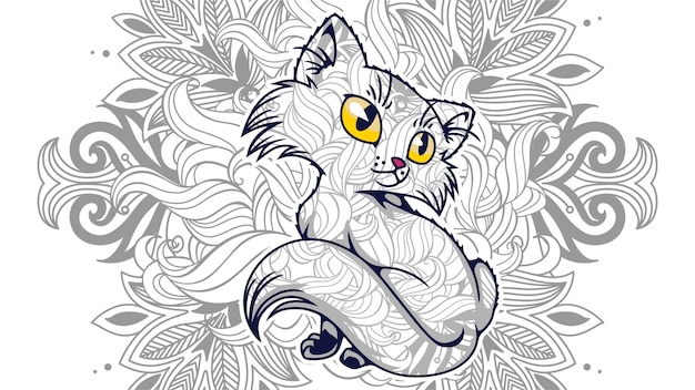 Illustration of funny cartoon cat in zentangled stylized